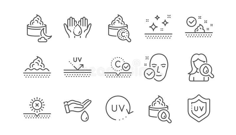 Sk?ry opieki linii ikony Kolagen, olej i Skincare, ?mietanki, serum, Liniowy set wektor royalty ilustracja