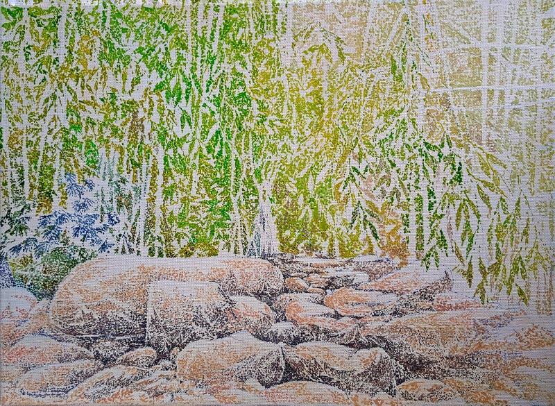 Skała kamienia impresjonizmu głęboki lasowy obraz obraz royalty free