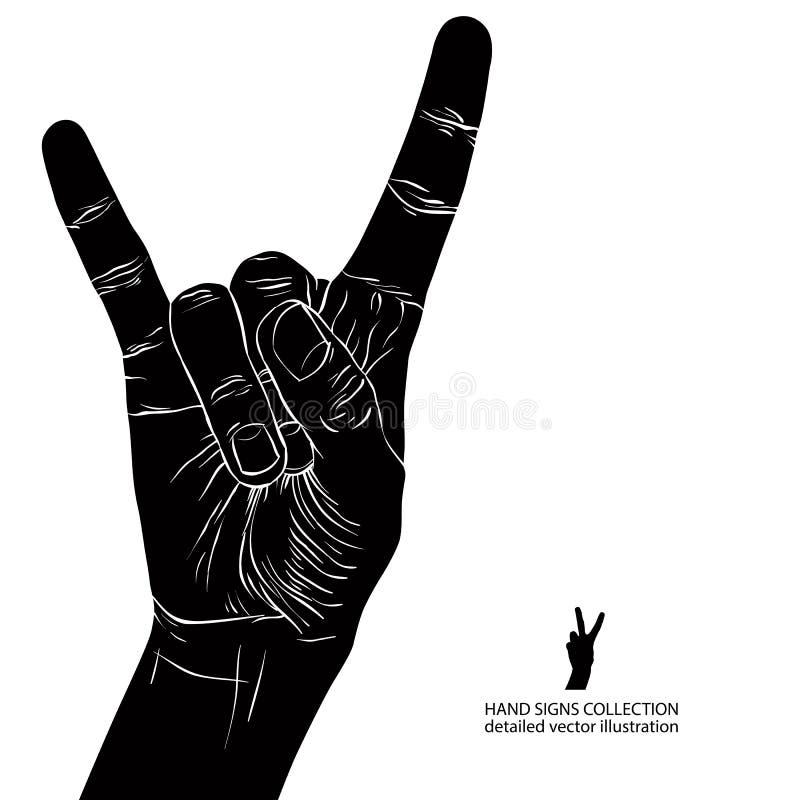 Skała na ręka znaku, rockowa n rolka, hard rock, ciężki metal, muzyka, d royalty ilustracja