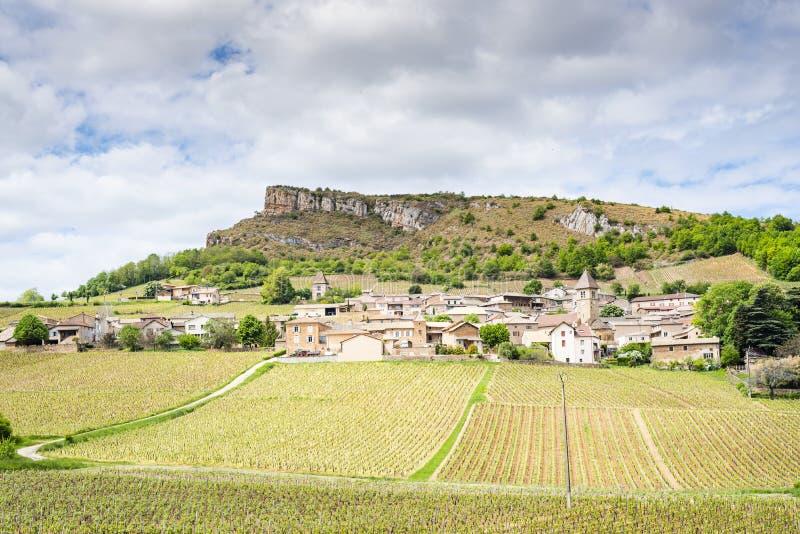Skała Solutré, Francja, Burgundy, Loire obrazy royalty free