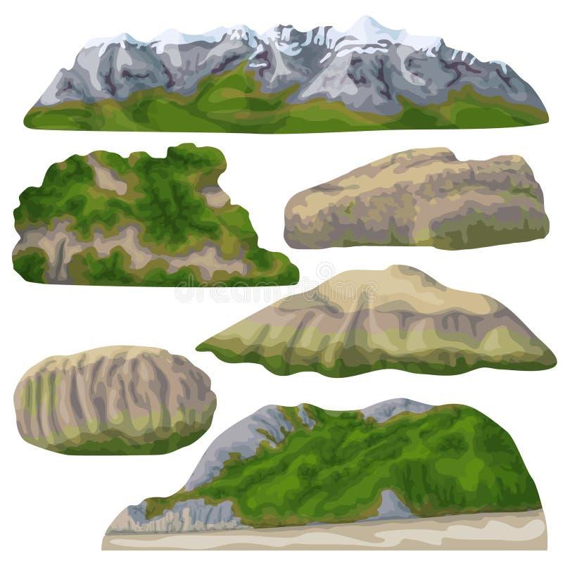 Skały i góry Odizolowywający na bielu royalty ilustracja
