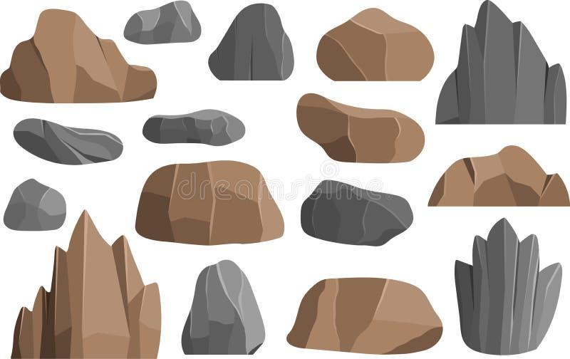 Skały i kamień wektorowe ikony buduje kopaliny geologii palowe wektorowe ilustracyjne góry ilustracja wektor