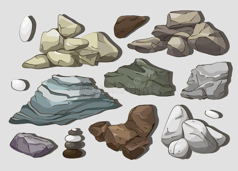 Skały I kamieni elementy ilustracja wektor