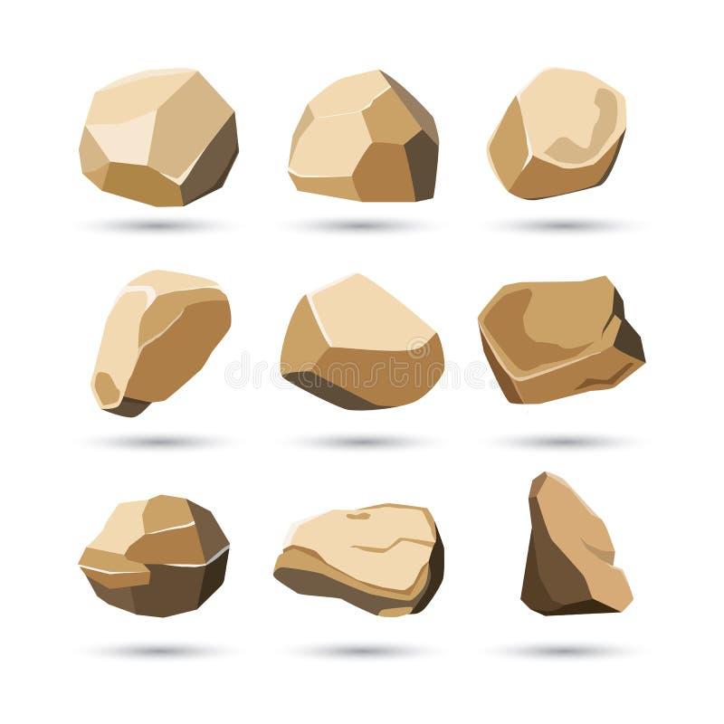 Skały i kamienia set royalty ilustracja