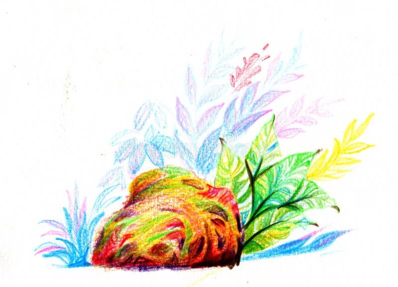 Skały i kolorowy krzak, koloru ołówka ilustracja obraz royalty free