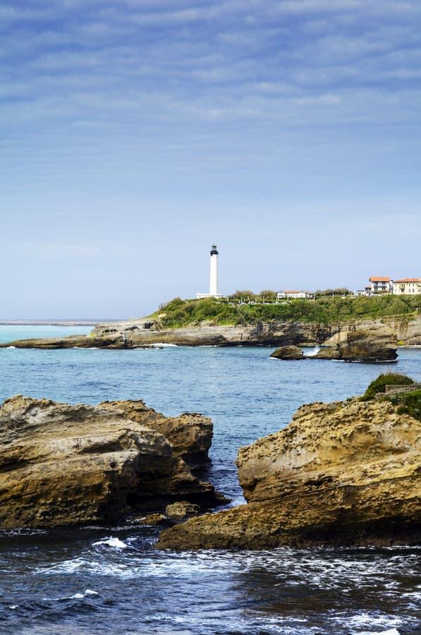 Skały i latarnia morska Biarritz, Francja zdjęcie royalty free