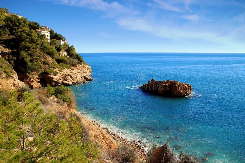 Skały i piasek w plaży losu angeles Nao przylądek w Hiszpania fotografia stock