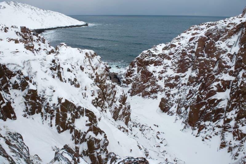 Skały na wybrzeżu Barents morze Teriberka Murmansk region, Rosja fotografia royalty free