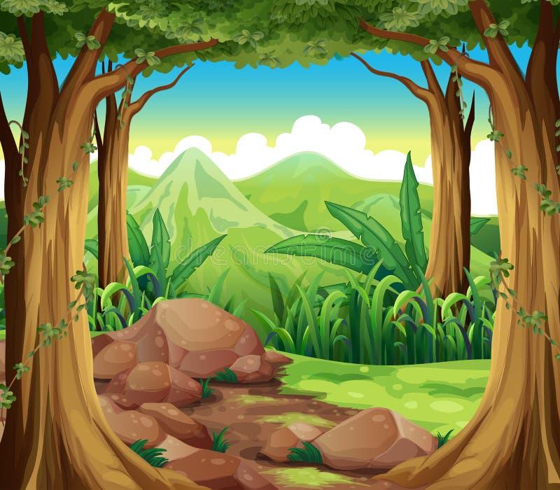 Skały przy lasem ilustracja wektor