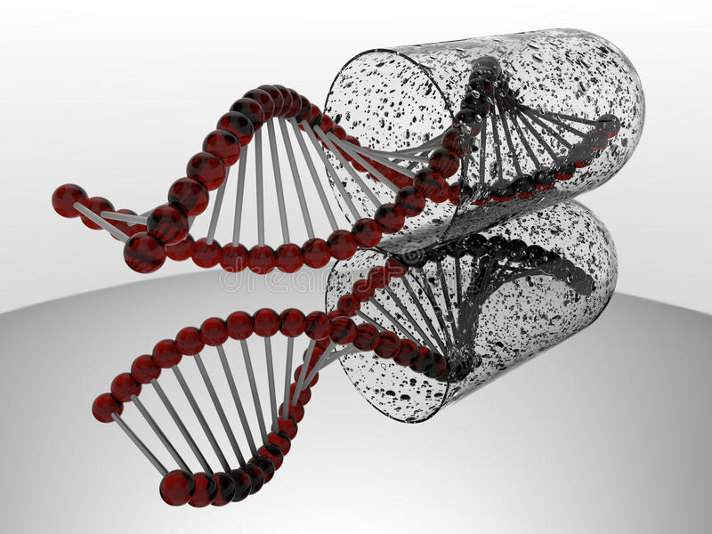 Skażona DNA pasemka kapsuła royalty ilustracja