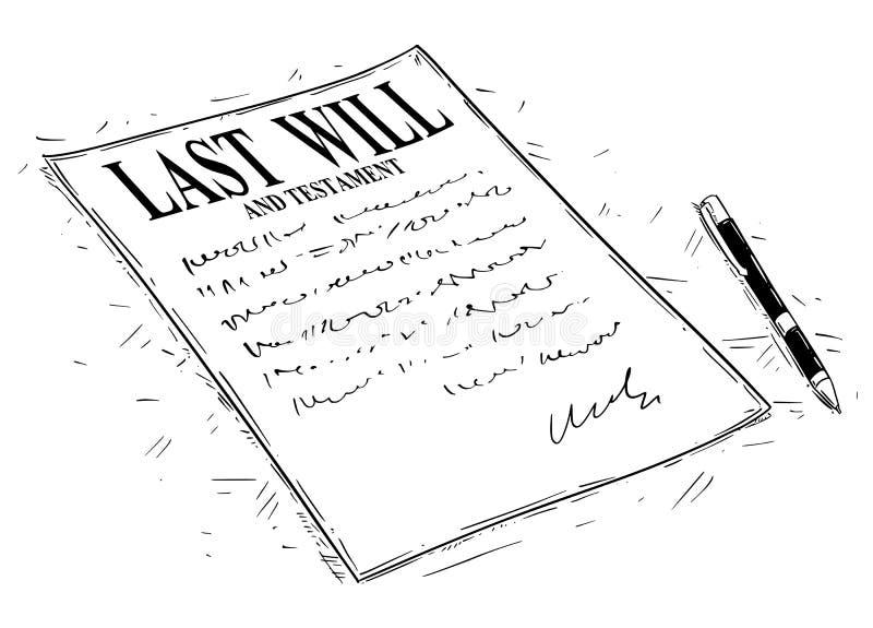 Ska den konstnärliga teckningsillustrationen för vektorn av pennan och sisten och det underteckna testamentdokumentet stock illustrationer