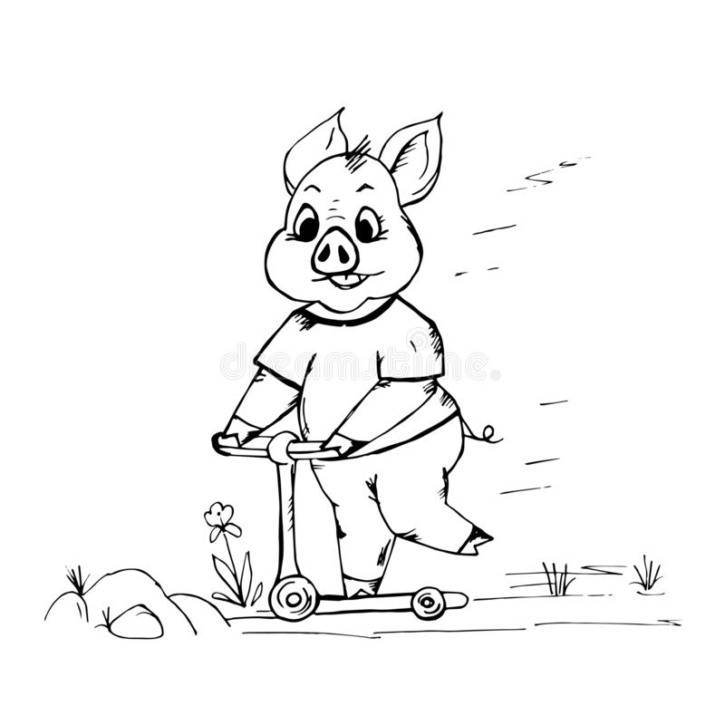 Ska det gulliga svinet för klottret som rider en sparkcykel och nu, falla royaltyfri illustrationer