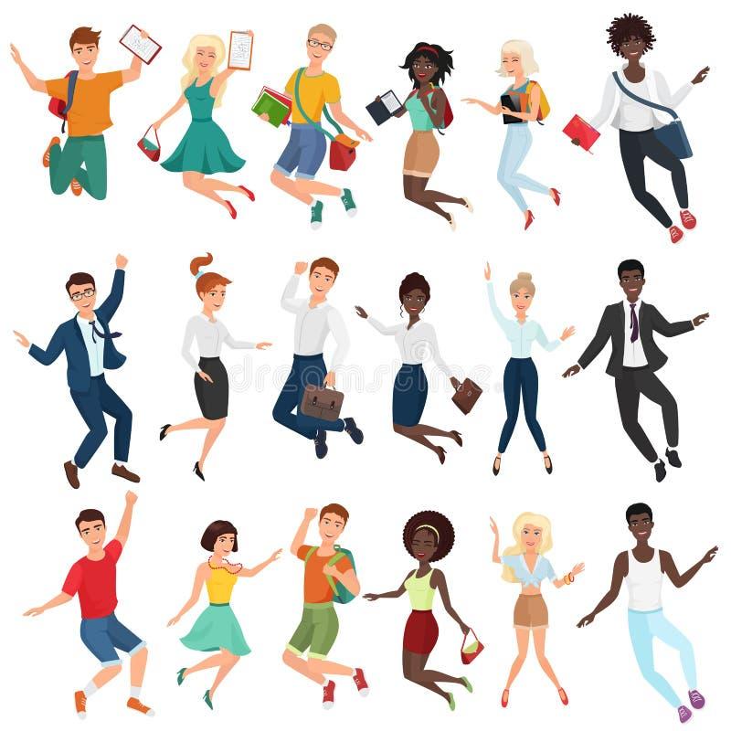Skaczący szczęśliwych młodzi ludzie w, tanczący i odziewa Płaskiej kreskówki skoku wektorowi charaktery ustawiający kombinezon ilustracja wektor