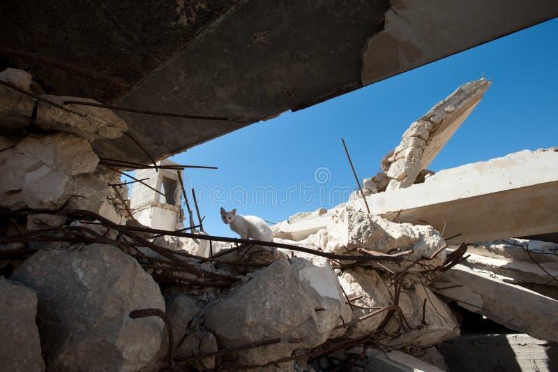 Skada från israelisk bombning i Gaza royaltyfria foton