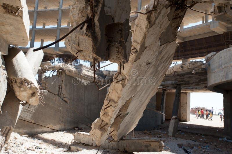 Skada från israelisk bombning i Gaza arkivbilder