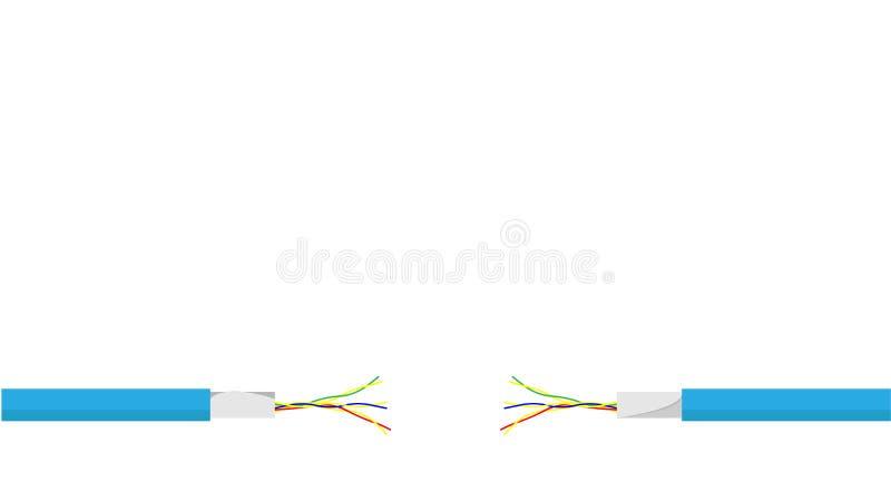 Skadad blå elektrisk kabel på vit bakgrund Elektrisk kabel för farlig bruten makt vektor arkivfoton