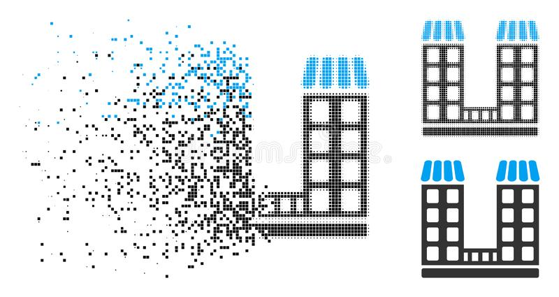 Skadade Dot Halftone Company Buildings Icon royaltyfri illustrationer