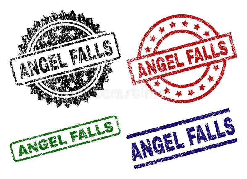 Skadade texturerade ANGEL FALLS stämpelskyddsremsor royaltyfri illustrationer