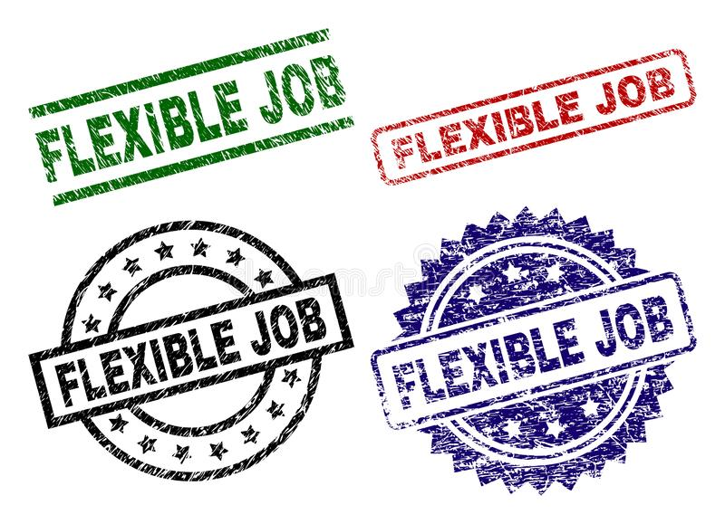 Skadade texturerade BÖJLIGA JOB Stamp Seals royaltyfri illustrationer