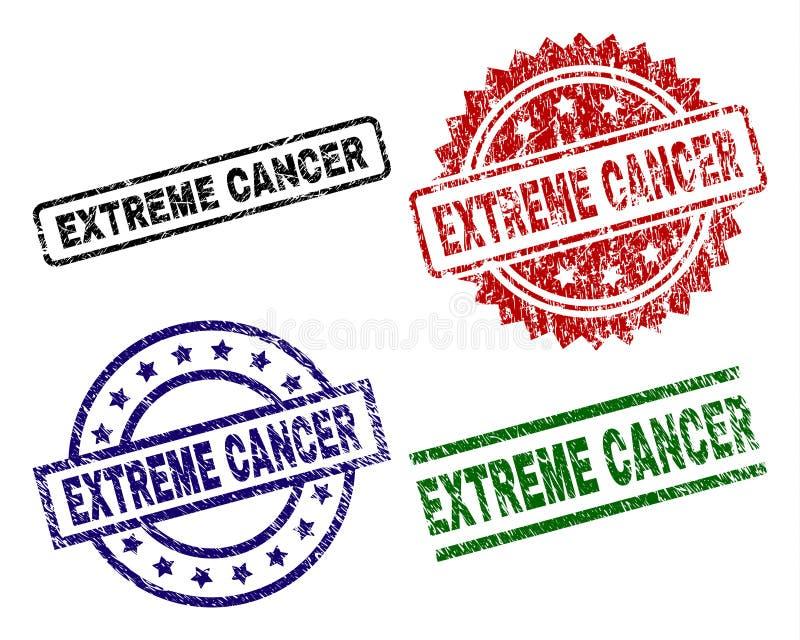 Skadade texturerade EXTREMA CANCERstämpelskyddsremsor stock illustrationer