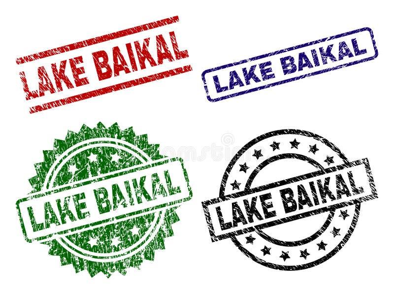 Skadade texturerade LAKE BAIKAL stämpelskyddsremsor stock illustrationer