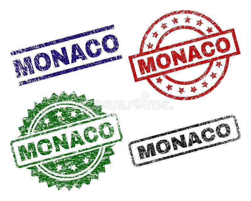 Skadade texturerade MONACO stämpelskyddsremsor royaltyfri illustrationer