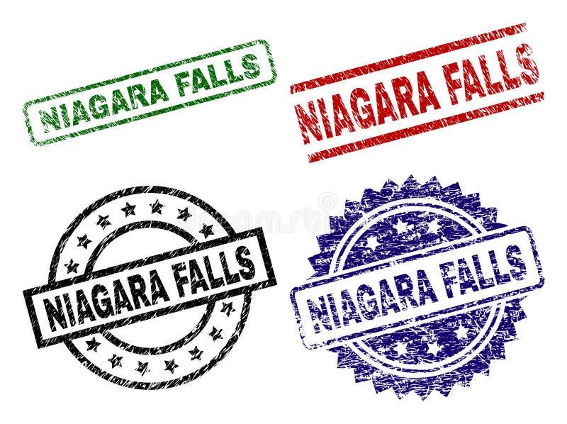 Skadade texturerade NIAGARA FALLS skyddsremsastämplar vektor illustrationer