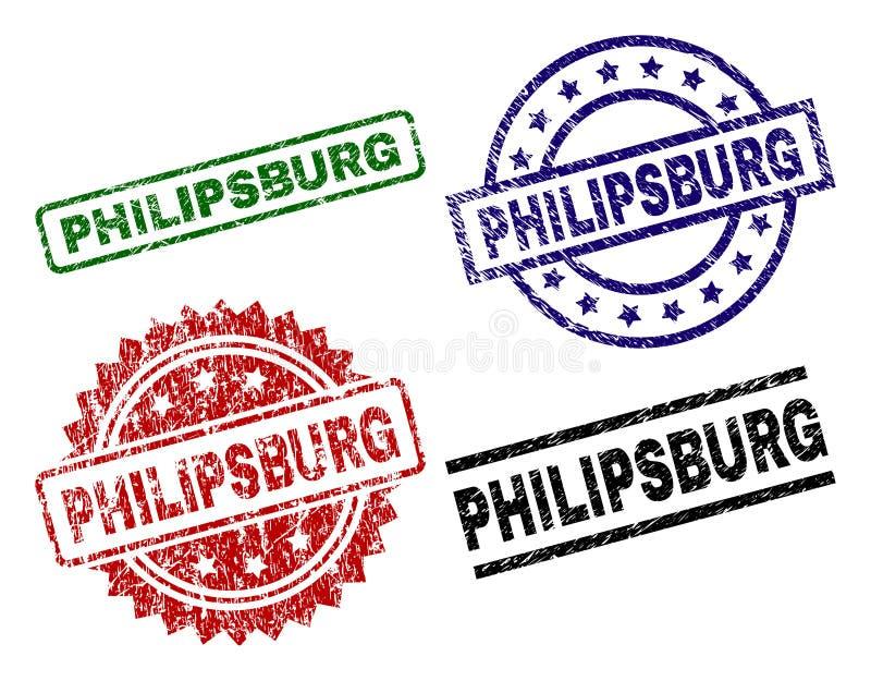Skadade texturerade PHILIPSBURG-skyddsremsastämplar royaltyfri illustrationer