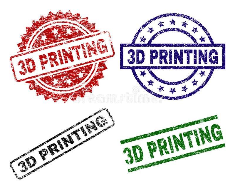 Skadade texturerade stämpelskyddsremsor för PRINTING 3D royaltyfri illustrationer