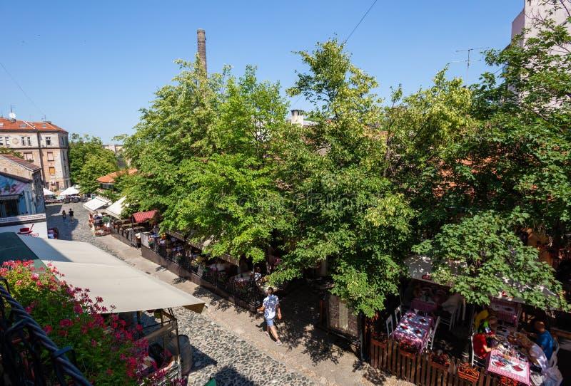 Skadarlija, Belgrado imagens de stock