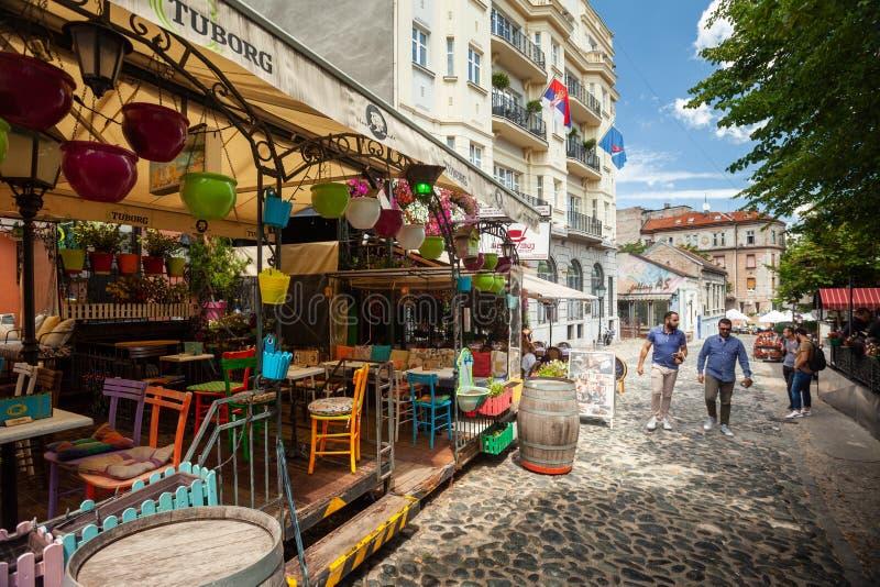 Skadarlija, Belgrado fotografia de stock