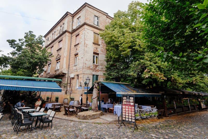 Skadarlija Bohemian Historic Street in Belgrade stock images