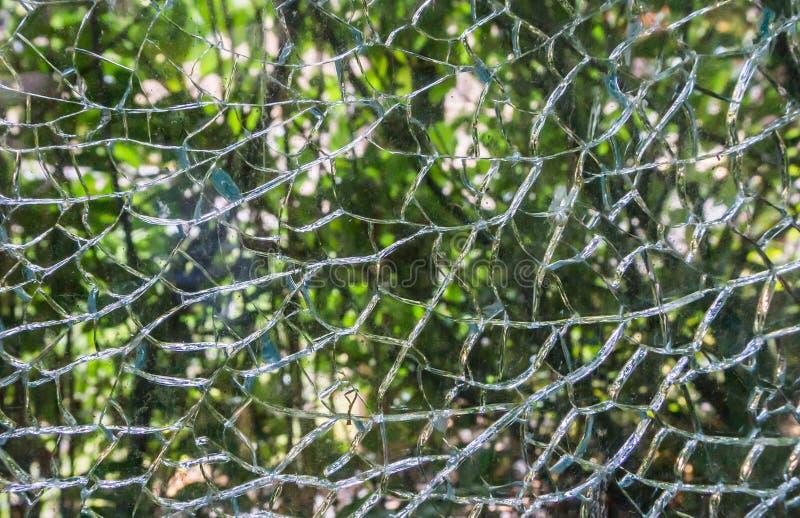 Skadat exponeringsglasfönster som splittras fullständigt i för makrocloseup för fragment härlig textur för bakgrund royaltyfri bild