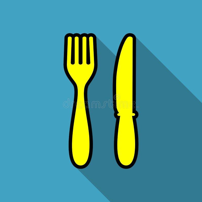 Skadat och brutet begrepp Lunchsymbol gaffel- och knivsymbol lunch stock illustrationer