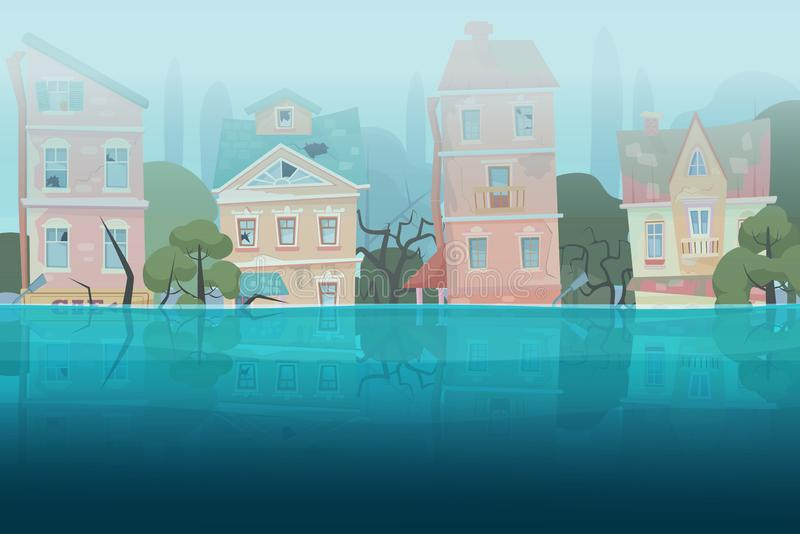 Skadlig av naturkatastrofflodhus och träd som doppas delvist i vattnet i tecknad filmstadsbegrepp Stormstad vektor illustrationer