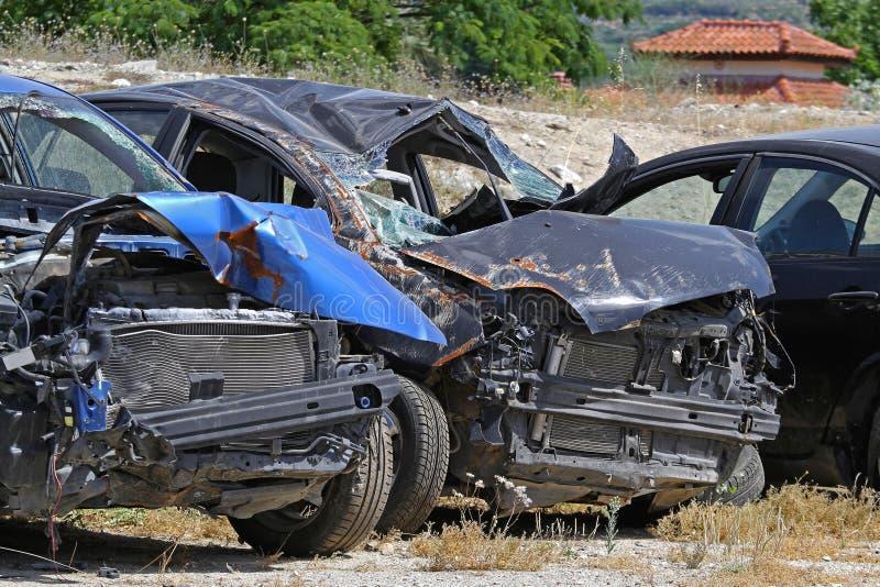 skadlig trafik för olycksbil krasch arkivbilder
