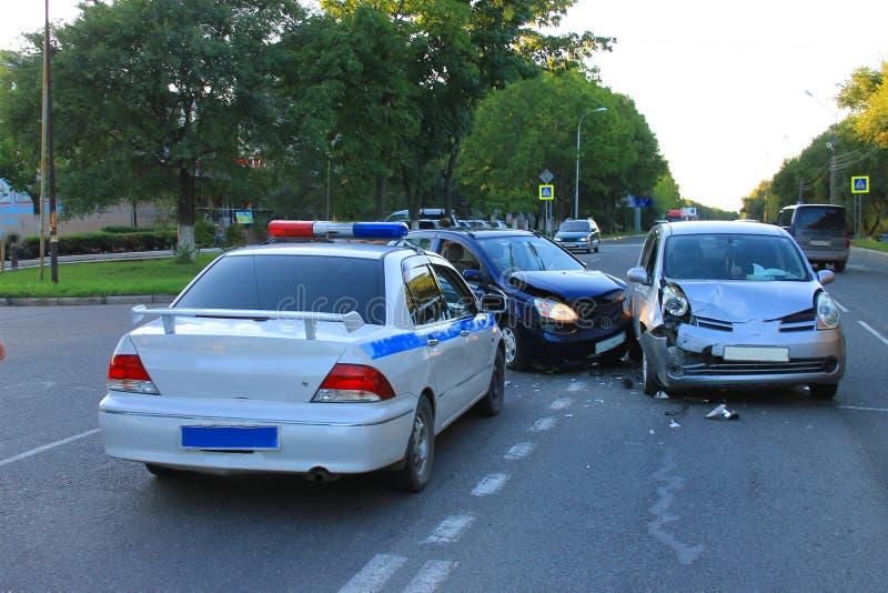 skadlig trafik för olycksbil krasch arkivfoto