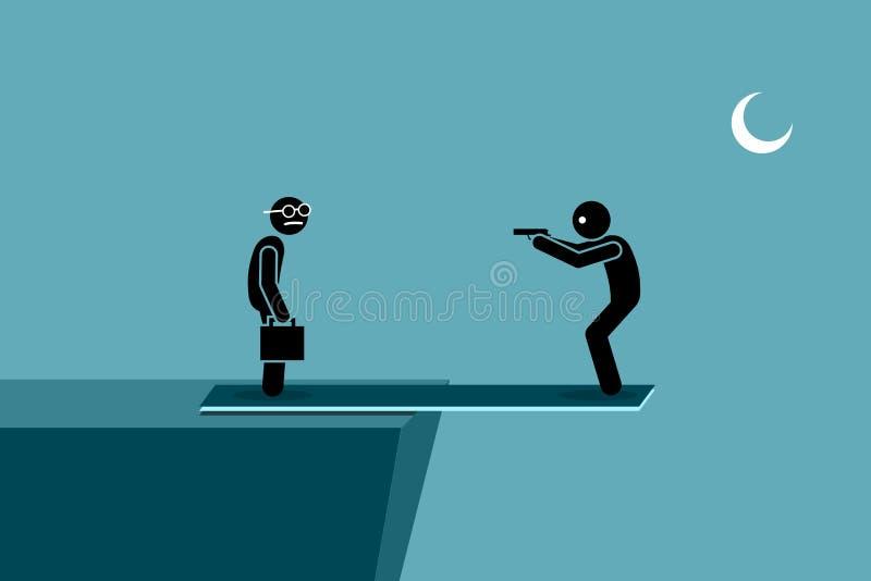 Skadligt annan folk- och självskada samtidigt stock illustrationer