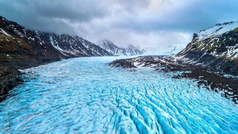 Skaftafellgletsjer, het Nationale Park van Vatnajokull in IJsland stock afbeeldingen