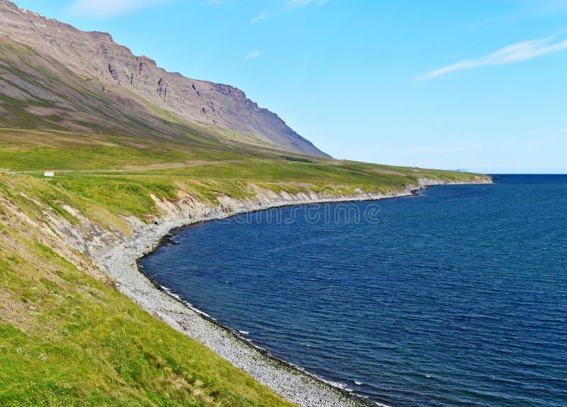 Skagafjordur westelijke kustlijn in het Noorden van IJsland royalty-vrije stock foto's