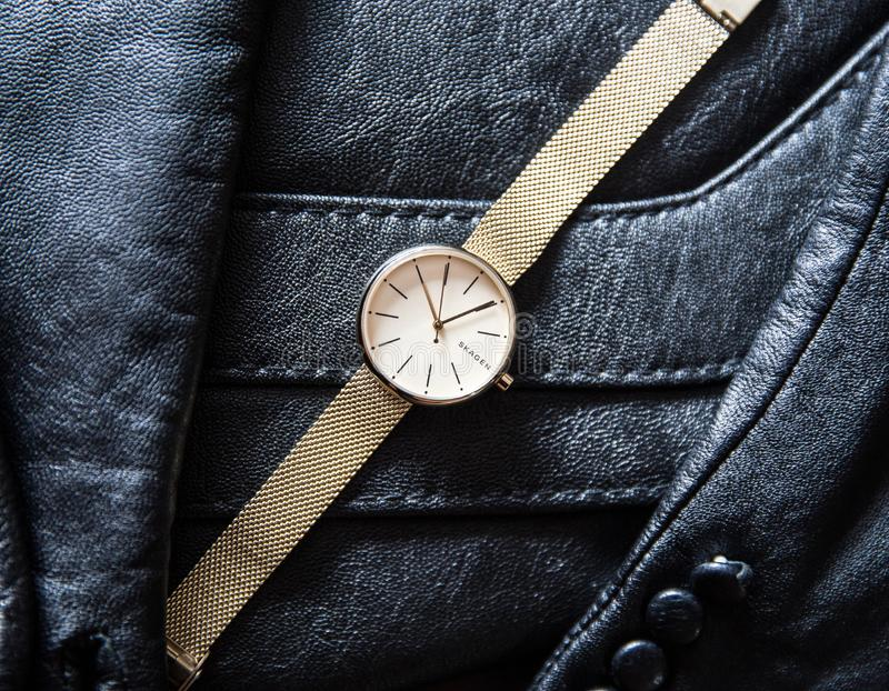 Skagen guld- klocka från Danmark fotografering för bildbyråer