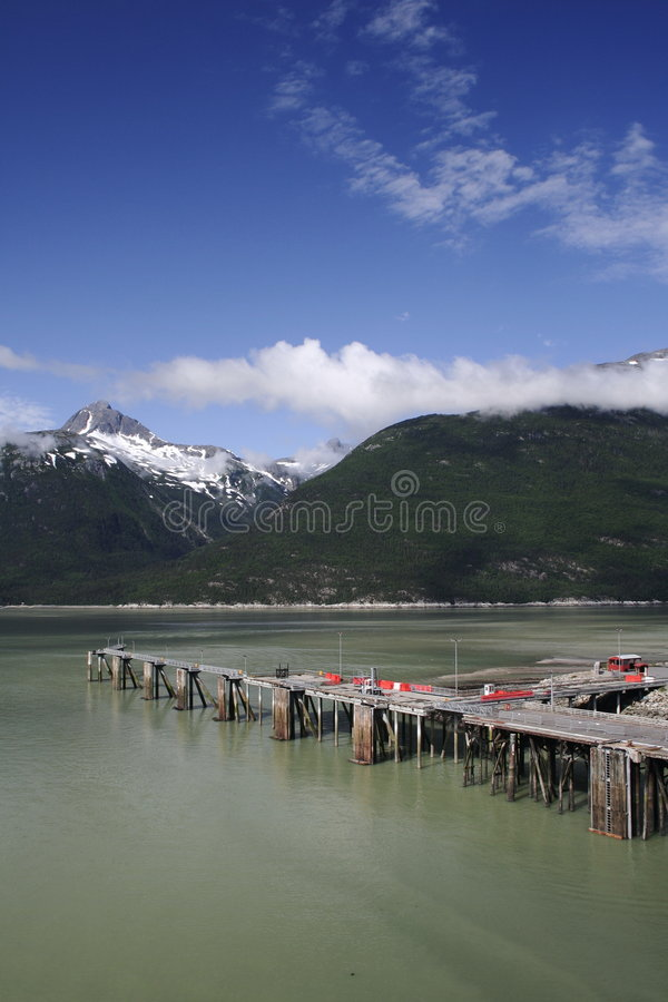 skagway阿拉斯加的码头 库存图片
