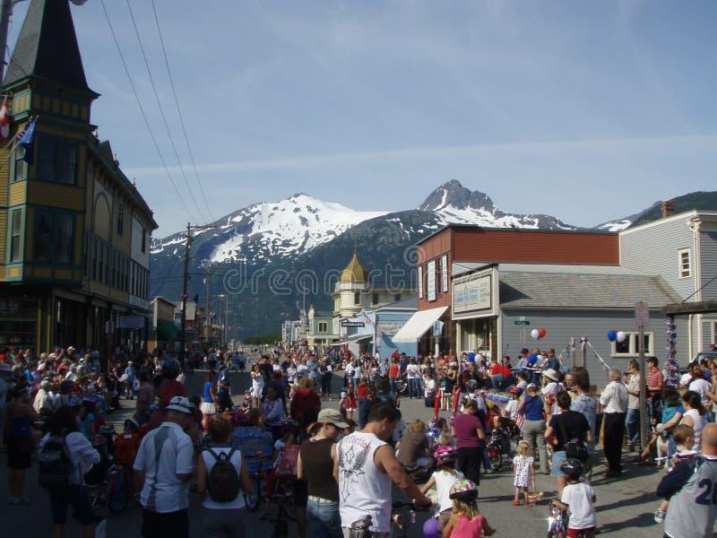 Skagway Alaska vierde van Juli-Menigte royalty-vrije stock afbeelding