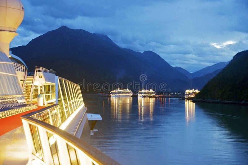Skagway an der Dämmerung, Alaska lizenzfreies stockfoto