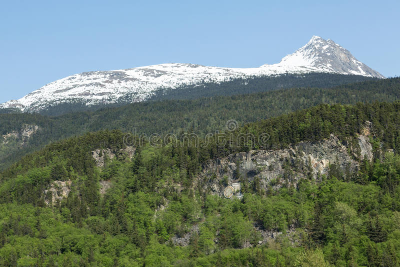 Skagways berg och skogar royaltyfria bilder