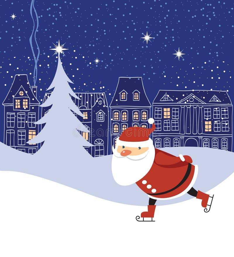 Skaitnig de Santa Claus stock de ilustración