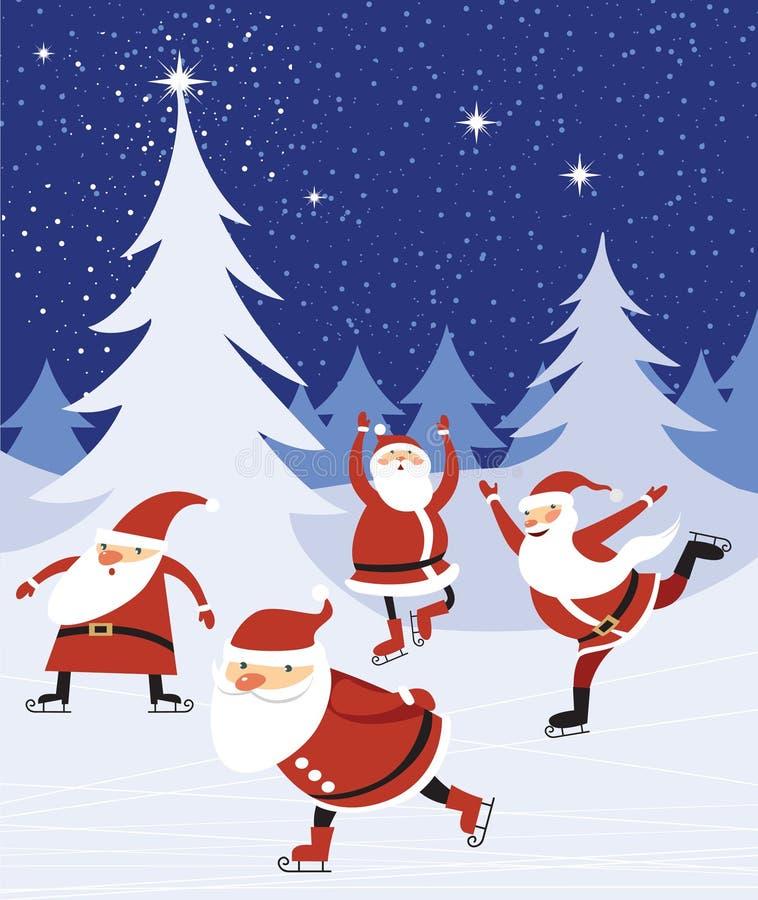Skaitnig de Santas sobre bosque azul de la Navidad stock de ilustración