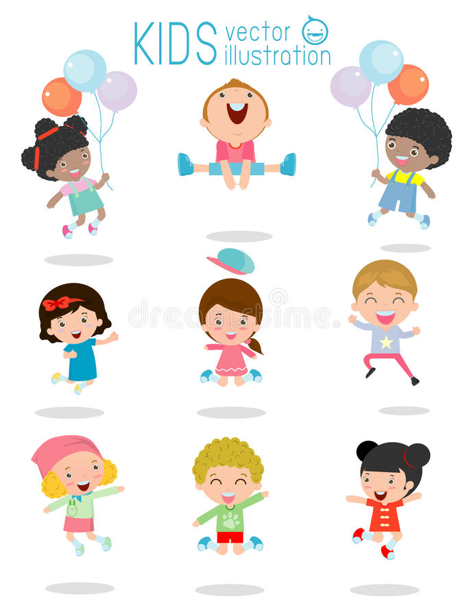 Skakać dzieciaków, Etniczni dzieci skacze, dzieciaki skacze z radością, szczęśliwi doskakiwanie dzieciaki, szczęśliwy kreskówki d royalty ilustracja