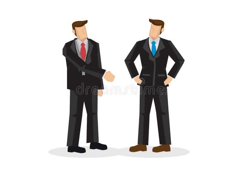 Skaka för hand för affärsman erbjudande, medan annat ignorerar honom stock illustrationer