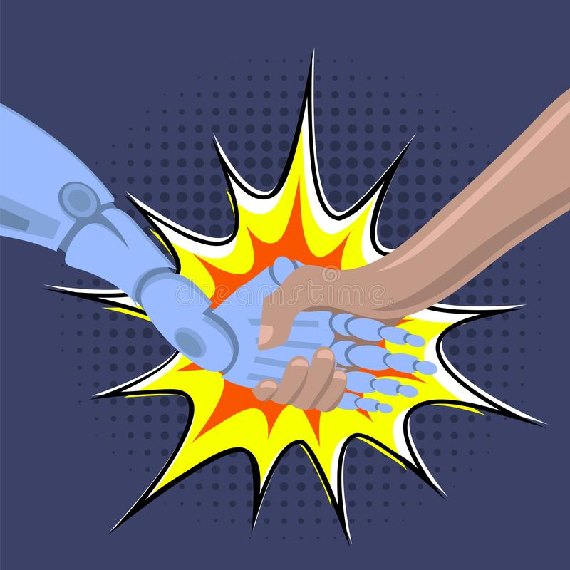 Skaka för robotarm Manliga robot- och människainnehavhänder med handskakningen Teknologi för konstgjord intelligens vektor illustrationer
